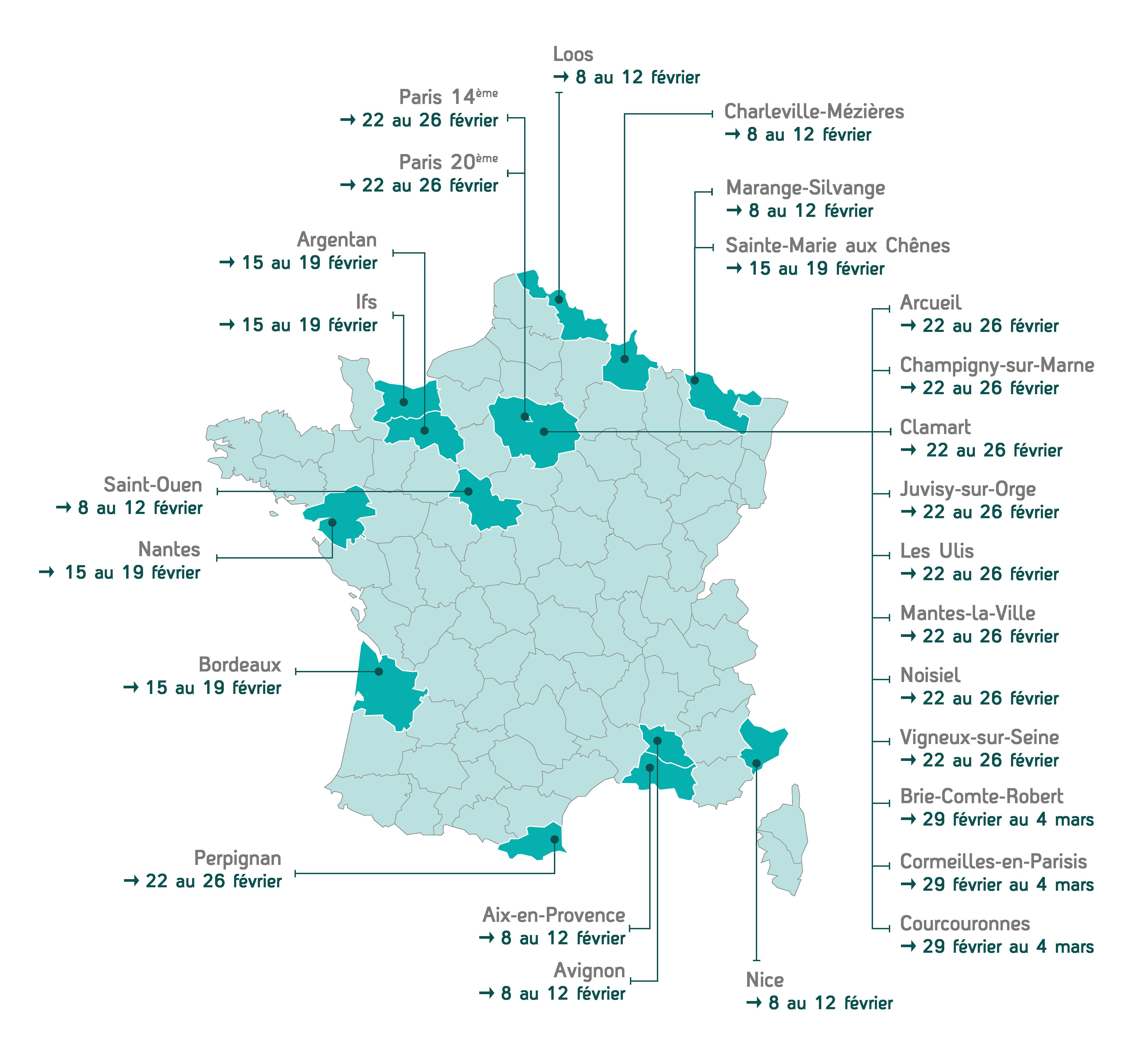 Carte de France des Centres Génération Basket