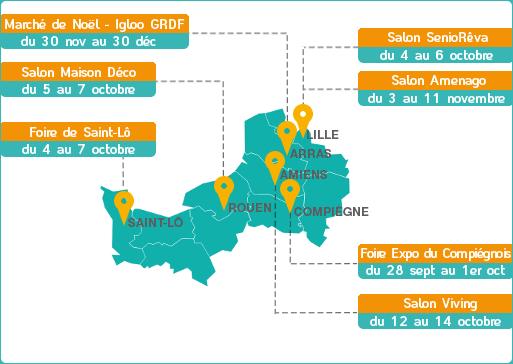 Carte des événements région Nord ouest - GRDF
