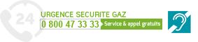 Numéro urgence sécurité gaz 0 800 47 33 33