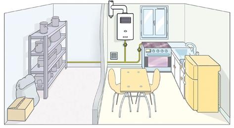 Etat initial : Chaudière à tirage naturel située dans la cuisine - GRDF